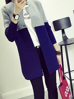 Hot Sales Easy Match Long Sleeve Color Block Autumn Cardigan Sweater