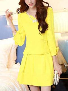 Korean Style Women Two Pieces Dress Yellow Pretty Latest Autumn Design