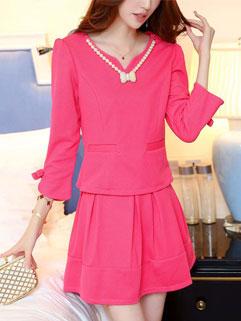 2015 New Arrival Women Two Pieces Dress Korean Style Rose Pretty Slim