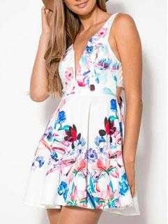 2015 New Fashion Women Sleeveless Dress Europe Style Sexy Floral Printed