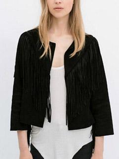 Latest Autumn Design Women Knitting Cardigan Loose Black Fringe Decoration