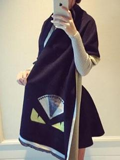 Wholesale Fashion Evils Pattern Color Block Black Scarves