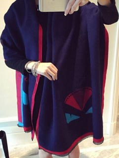 Blue Casual Women Printing Cashmere Casual Scarves