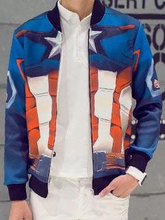 2015 New Fashion Men Coat Korean Sports Style Blue Geometrical Printed