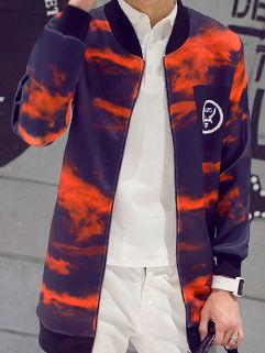 Latest Autumn Design Men Long Coat Korean Style Fashion Handsome Ink Printed