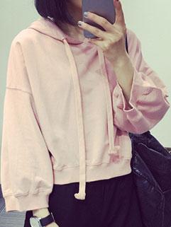 2015 Autumn Design Women Hoodies Street Style Pink Loose Sportswear