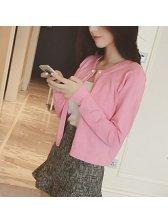 Knitting Pearls Embellished Long Sleeve Lovable Pink Cardigan