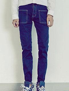 2015 New Arrival Men Jeans Korean Style Fashion Slim Fitness Big Pockets