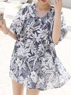 Concise Dark Blue Floral Printing Loose Linen V Neck Dress