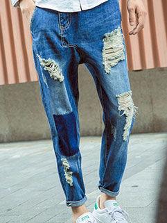 2015 Autumn New Men Jeans Street Style Vintage Vanguard Hole Patchwork