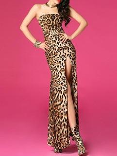 Sexy Design Leopard Printing Slimming Hot Slit Strapless Maxi Dress