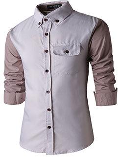 2015 New Arrival Men Shirt Stars Love Slim Fit Handsome Solid Color