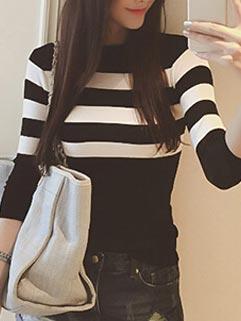 Korean Style Trendy Knitting Striped Slimming Sweater