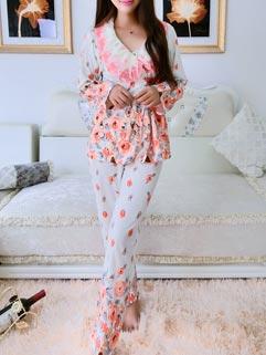 Comfort Style Long Sleeve Lace Split Loose Floral Cutey Pajamas