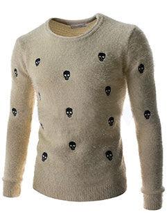 2015 New Arrival Men Sweater Korean Style Slim Fitness Skull Embroidery