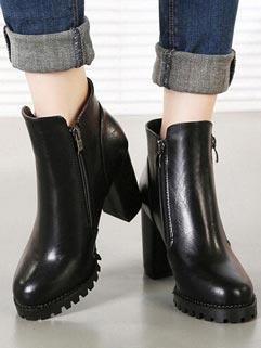 Elegant Style Black Round-toe Easy Match Zippered Martin Boot