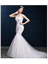 Luxury Church Embroidery V-Neck Open Back Mermaid Wedding Dresses