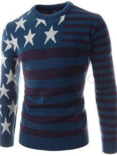 2015 Latest Design Men Sweater Europe Style Blue Printed Knitting Wear