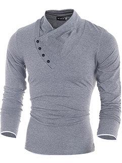 2015 Europe Street Men Sweater Handsome Vanguard Slim Fit Oblique Button-down