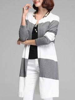 Gray Fashion Long Sleeve Casual Cardigan Sweater