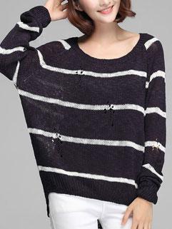 Black Hollow Loose Striped Long Bat Sleeve Casual Sweater