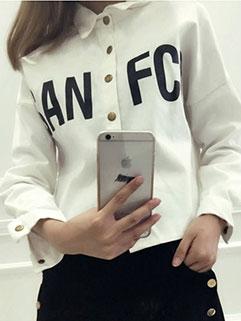 2015 Autumn New Women Blouse Korean Style White Slim Letter Printed