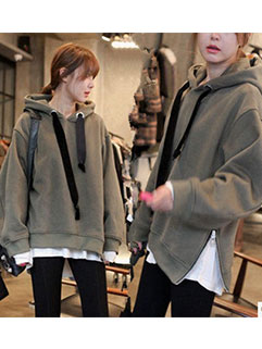 New Arrival Women Hoodies Street Style Fashion Loose Zip Decoration