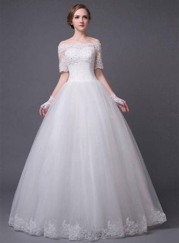 New Design Women Elegant Beatiful A Line Lace Spliced Wedding Dress