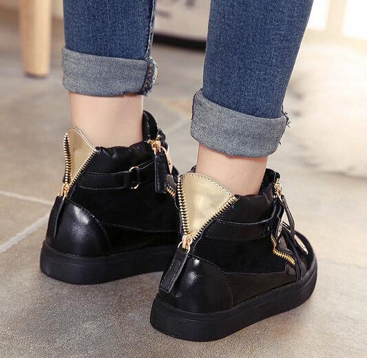 Latest Design Women Korean Style PU Spliced Fashion Buckle Strap Flats