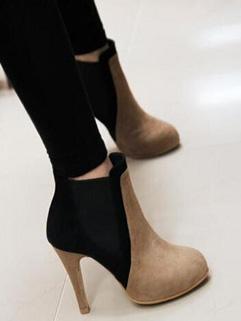 Stylish Color Block Yellow High Heel Round-toe Boots