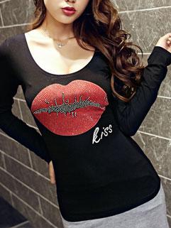 Hot Selling Korean Design Women Long Sleeve Black T-Shirt