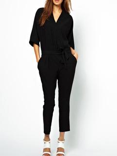 Stylish V Neck Loose-fitting Solid Color Ladylike Jumpsuits