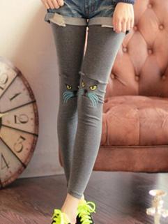 Fall Winter High Quality Slimming Kitty Print Cheap Womens Legging