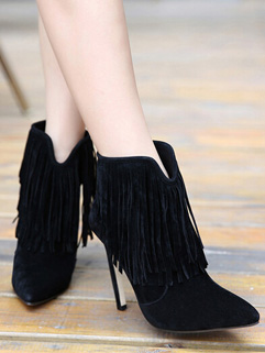 Gorgeous Style Black Pointed-toe Fringed Zip High Heel Boots