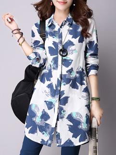 Korean Loose White Floral Print Lapel Long Sleeve Linen Blouse
