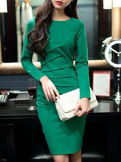 Korean Style Ladylike Solid Color Bodycon Long Sleeve Zip Dress