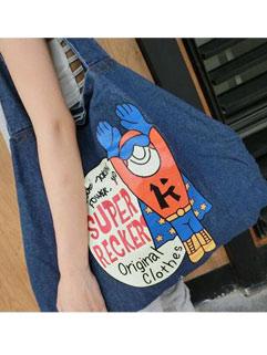 Casual Design Denim Print Korean Style Shoulder Bag
