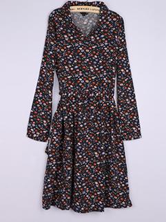 Elegant Women Floral Polo Neck Ball Gown Dresses
