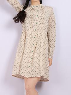 Sweet Girl Floral Printing Long Sleeve Doll Neck Mini Blouse Dresses