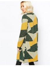 Modern Design Slimming Geometric Print Long Sleeve Cardigan