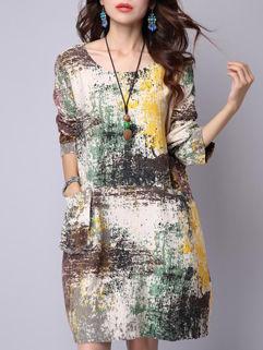National Style Lady Women Loose Splash-Ink Print Oversize Dress