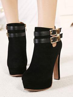 Wholesale Fashionable Suede Round-toe Sexy Women Black Platform Boot