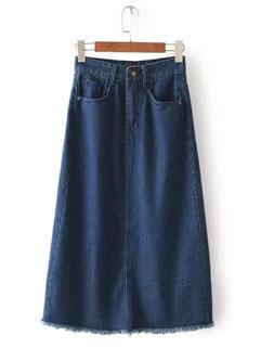 New Arrival Women Solid Color Wrap High Waist Denim Skirt