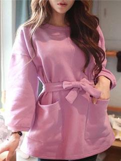 Lovable Long Sleeve Solid Color Loose Bandage Korean Pullover Hoodies