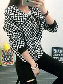 Original Brand Checkered Print Loose Lapel Long Sleeve Women Coat