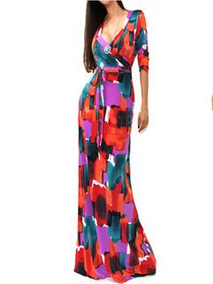 Sexy Fashion Women Floral V-Neck Wrap Maxi Bohemian Style Dresses