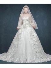 Elegant Women Pretty Beading Lace Embroidery Sleeveless Wedding Dress