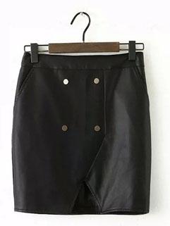 Fall Fashion Women Split Button High Waist Short Skirt