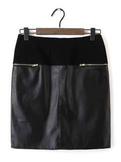 Fashion Korean Women Patchwork Short Zipper Up Casual Skirt