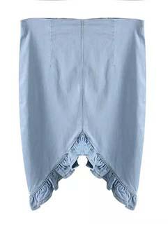Wholesale Fashion Design Women Asymetrical Hem Wrap Denim Skirt